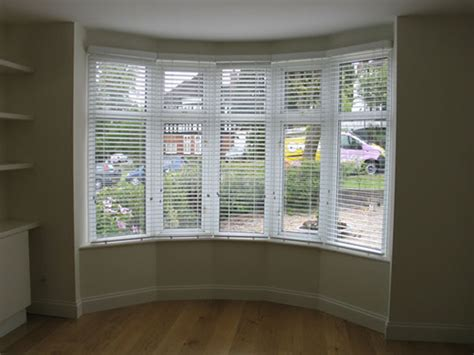 Bay Window Blinds 50mm White Woodslat Blinds In Bay Window Hstead