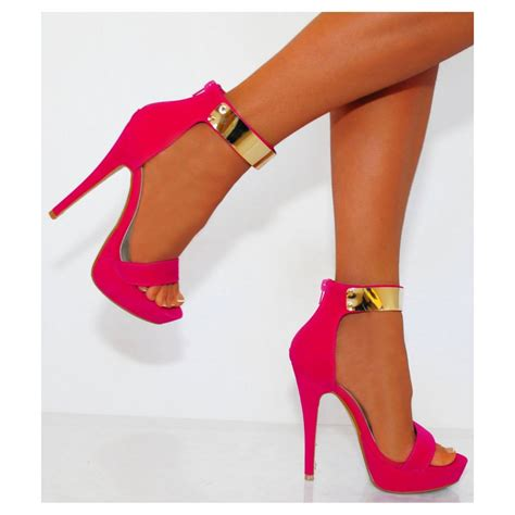 pink high heels shoes womens fuchsia pink high heel gold ankle cuff