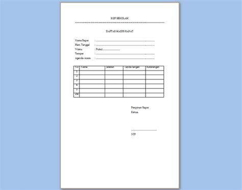 format daftar hadir dan notulen rapat contoh daftar hadir rapat sekolah format microsoft word