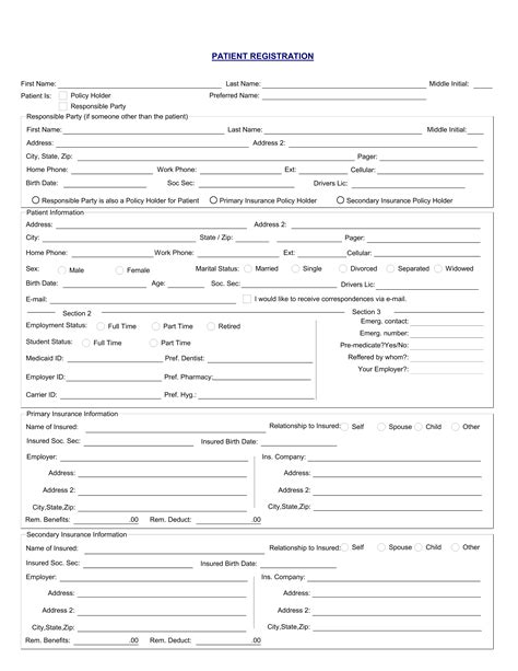 new patient registration form template best photos of printable patient registration forms