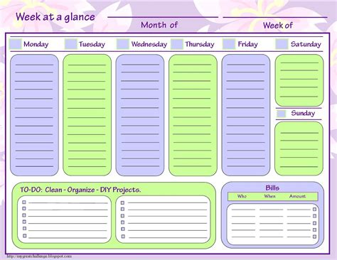 Week At A Glance Template my great challenge home management filing system templates