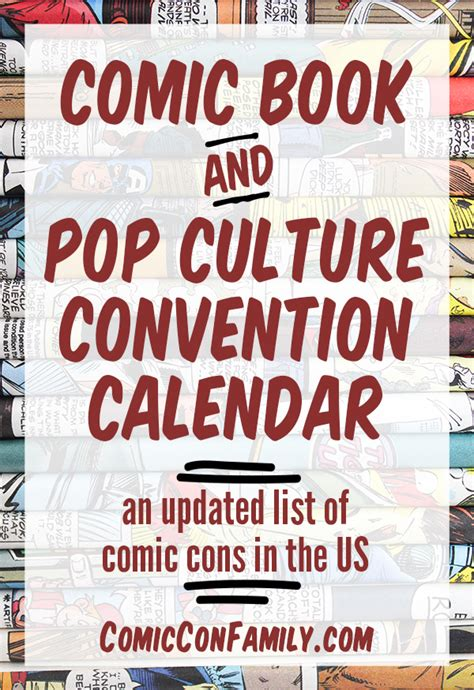 Chicago Conventions Calendar 2017 Comic Book Conventions Comic Con Family
