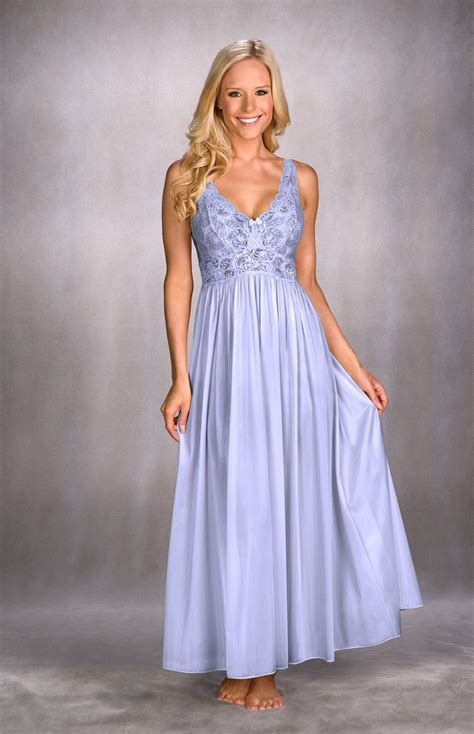 Negligee Set Long Blue Nightie And Lace Negligee Silhouette