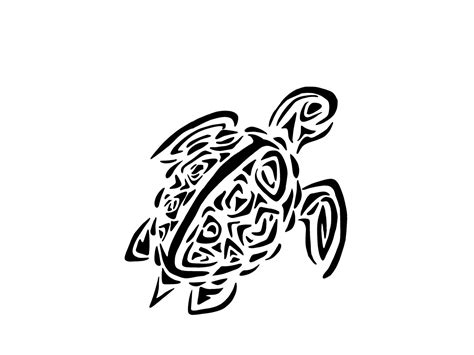 black tribal sea turtle tattoo design