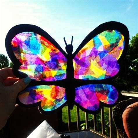 Tissue Paper Suncatcher Craft - wax paper black construction paper glue and colored