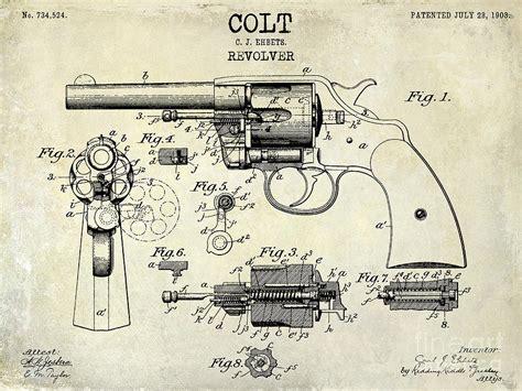 1903 colt revolver patent drawing photograph by jon neidert