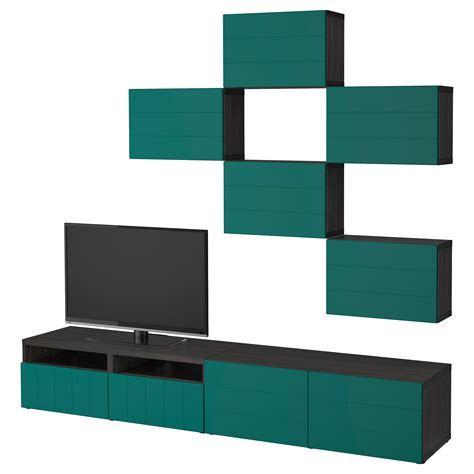ikea besta combination best 197 tv storage combination black brown hallstavik blue