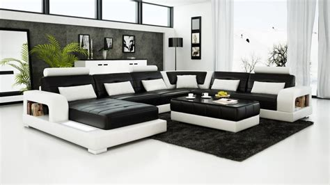 Black And White Chair And Ottoman Design Ideas Contemporary Black And White Leather Sofa Set Sleeper Sofa