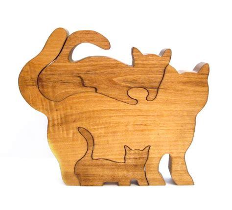 Handmade Puzzle - vintage wood puzzle handmade cat kitten