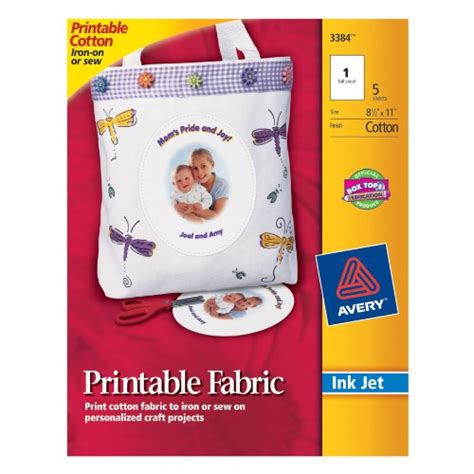 avery printable fabric for inkjet printers 5 pack avery printable fabric for inkjet printers 8 5 x 11