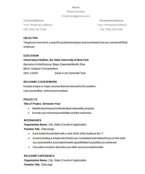 Simple Resume Exles by Simple Resume Template 46 Free Sles Exles Format Free Premium Templates