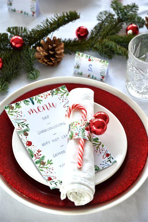 Tafel Kerstversiering Maken by Free Printables Kerst Menukaart Servetringen Naamkaartjes