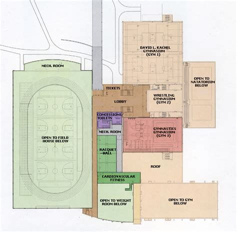 Recreation Center Floor Plan by Williams Center Kachel Fieldhouse Floorplan University