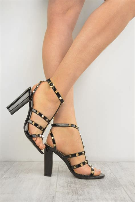 High Heels Sandal Selop Br black patent studded ankle t bar block high heel