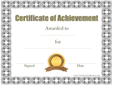 templates for certificates of achievement free customizable certificate of achievement