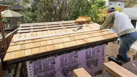 Wooden Roof Shingles For Sheds by Installing Shingles On Garden Shed Roof