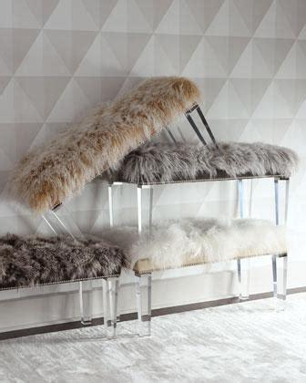 sheepskin bench massoud alala sheepskin top acrylic legs bench