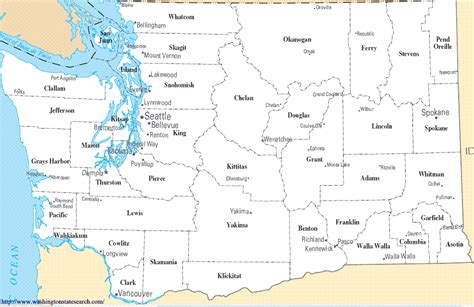 Search Wa Washington State County Map A Map Of Washington State Counties
