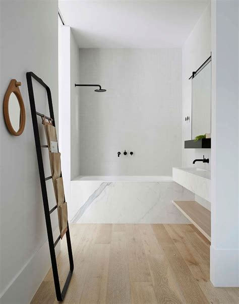 Bathroom With Wooden Floor by Simply Bath Marble Tub Surround White Wash Oak
