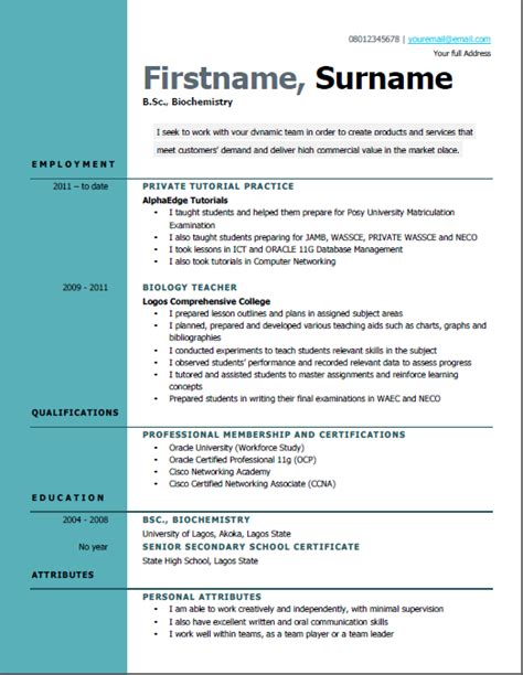 Job Resume Pattern by Best Free Cv Formats To Make You Stand Out To Employers