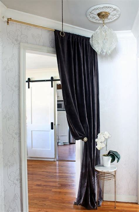 Hallway Door Curtains The Hunted Interior Hallway Makeover With Floral Wall Paper Velvet Curtains Vintage Lucite