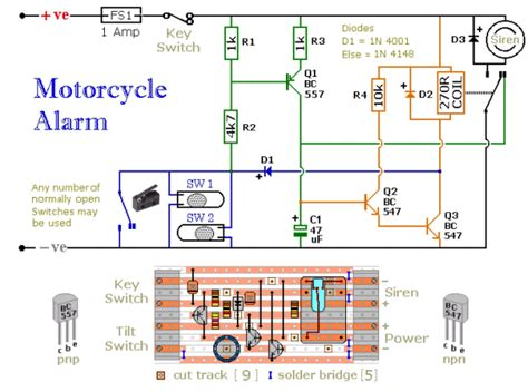 motorcycle alarm circuit diagram project alarms