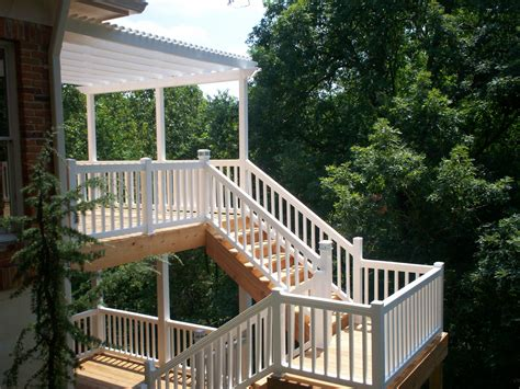two story deck bidirectional deck stairs st louis decks screened
