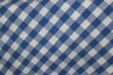 blue and white checked gingham round tablecloth