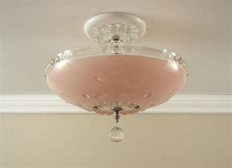 Pink Light Fixtures Vintage 1940 S Antique Pink Pressed Glass Bedroom Hallway Ceiling Light Fixture Rewired