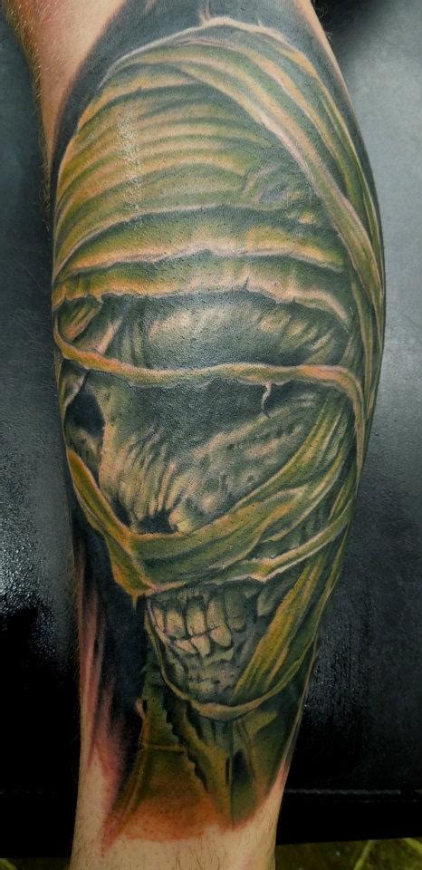 mummy tattoo green ink mummy on leg by aenema
