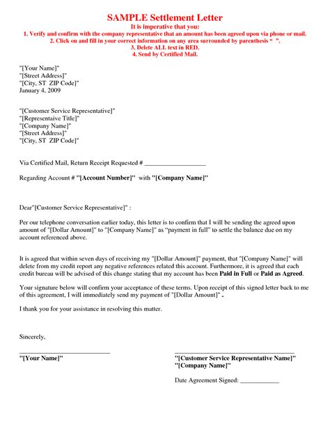 picture 5 of 17 debt settlement agreement letter sle letter of agreement sle