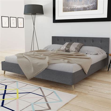 Matras Bed No 3 bed hout met donkergrijze stoffen bekleding matras 200 x