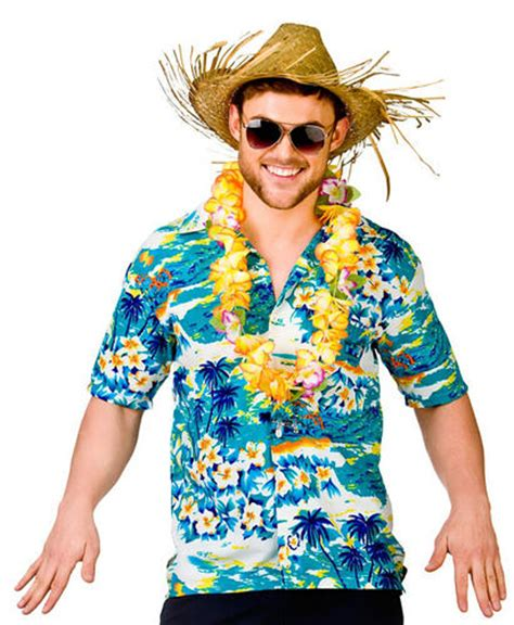 beach themed clothing party hawaiian shirts straw hat mens fancy dress beach party