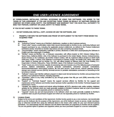 8 Software License Agreement Sles Sle Templates End User License Agreement Template