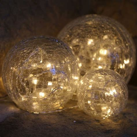 Artificial Tree For Home Decor by Warm White Led Pre Lit Glass Crackle Balls Set Of 3
