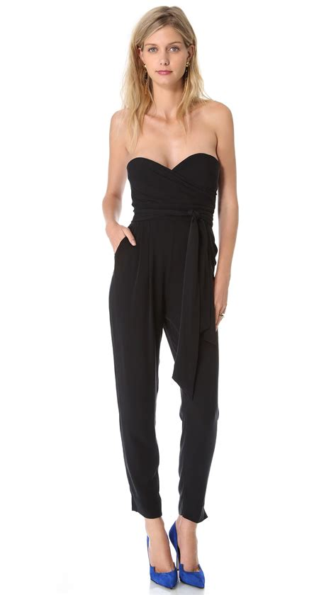 Jumpsuit Emily Belt 12911 lyst catherine malandrino strapless jumpsuit in black