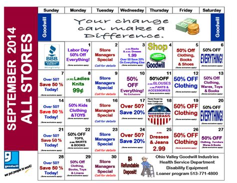 Goodwill Sales Calendar Store Promotions Ohio Valley Goodwill Industries