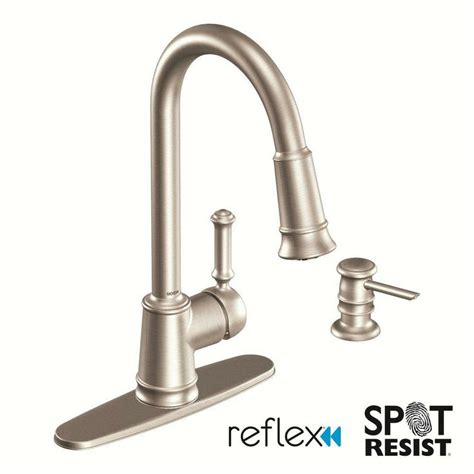 moen lindley single handle pull down sprayer kitchen faucet in spot resist stainless with soap
