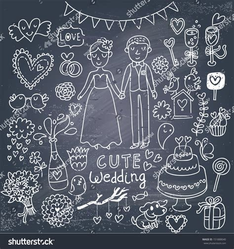 Wedding Background Set by Vintage Wedding Set Style On Stock Vector