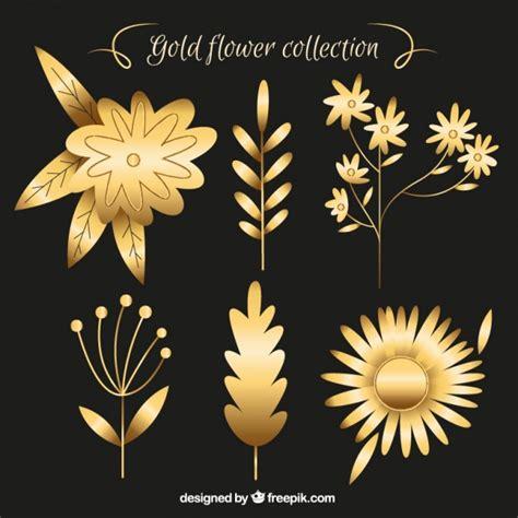 imagenes de rosas doradas set de ornamentos de flores doradas descargar vectores