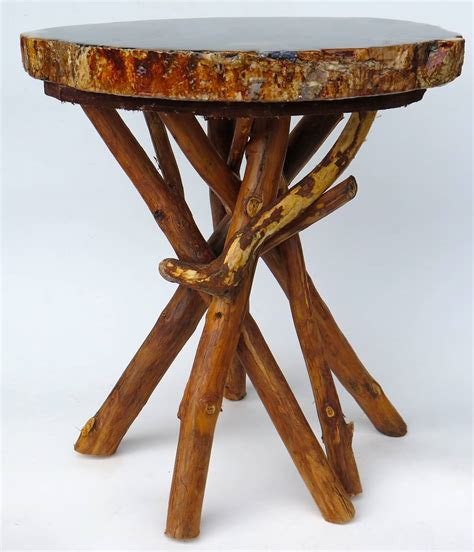 petrified wood side table with branch base at 1stdibs