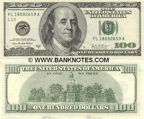 currency usd u s currency united states of america 100 dollars 2003