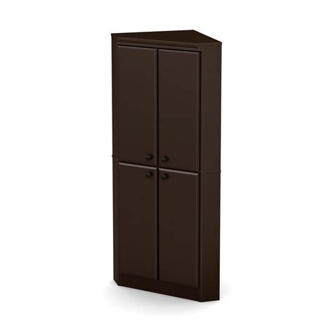 corner armoire south shore morgan 4 door corner armoire chocolate
