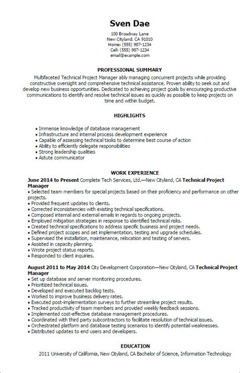 Technical Program Manager Resume by 1 Technical Project Manager Resume Templates Try Them