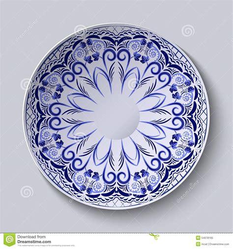 blue pattern porcelain blue floral pattern on a round plate stylization of