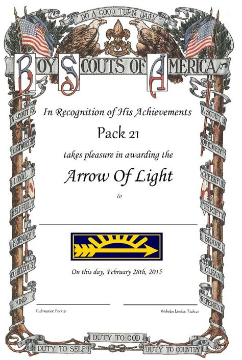 arrow of light certificate template webelos crossover certificates scouter