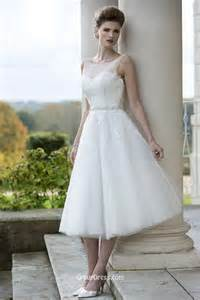Tea length sleeveless embroidered applique tulle a line wedding dress