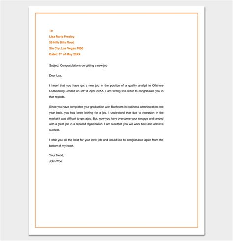 Wedding Congratulations Letter Format by Congratulation Letter Template 18 Sles For Word Pdf