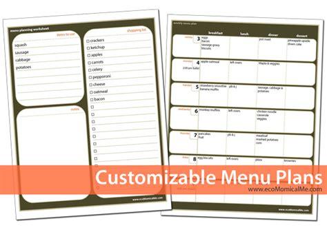 printable editable menu planner free customizable printable menu planner free homeschool