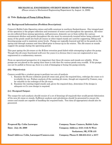 9 engineering proposal template parts of resume
